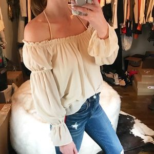 Cream off the shoulder peasant blouse